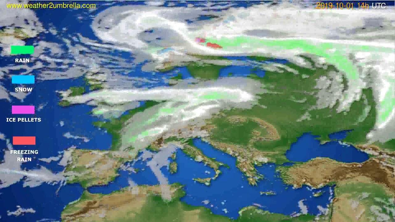Precipitation forecast Europe // modelrun: 12h UTC 2019-09-29