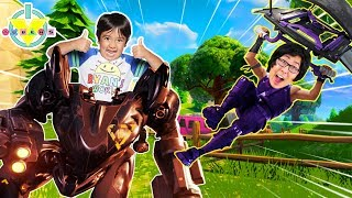RYAN PLAYS FORTNITE DUO WITH DADDY ! Let's Play !