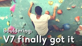V7 Purple: Finally sent my bouldering problem at cliffs of id by  rockentry