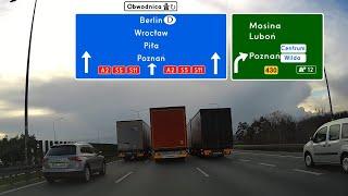 Wyprzedzanie równoległe trzech ciężarówek przez 6 km na A2 w Poznaniu