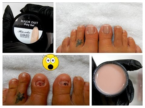 Best Polygel For My Fake Toe Nails / Skin Color Polygel / No Toe Nails I Make Some !