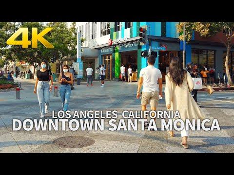 SANTA MONICA - Walking Downtown Santa Monica, Los Angeles, California, USA, Travel, 4K UHD