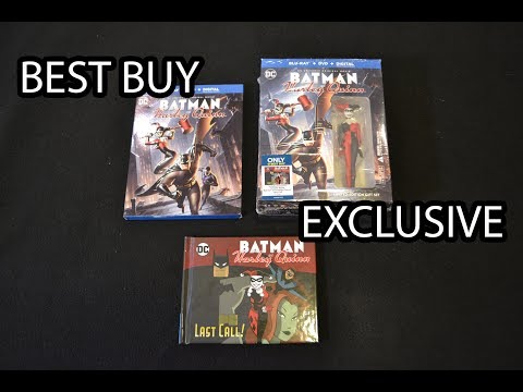 Best Buy Exclusive BATMAN & HARLEY QUINN Blu ray w/ GRAPHIC NOVEL & FIGURE! unboxing review