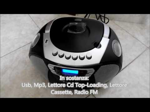Stereo registratore radio portatile Usb, Mp3, Lettore Cd, Lettore Cassette, Radio FM KrissKross Auna