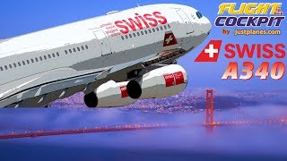 Swiss Cockpit Airbus A340 filmed by justplanes featuring Captain Covolan and his crew in this 4 hour film of a flight from Zurich to...