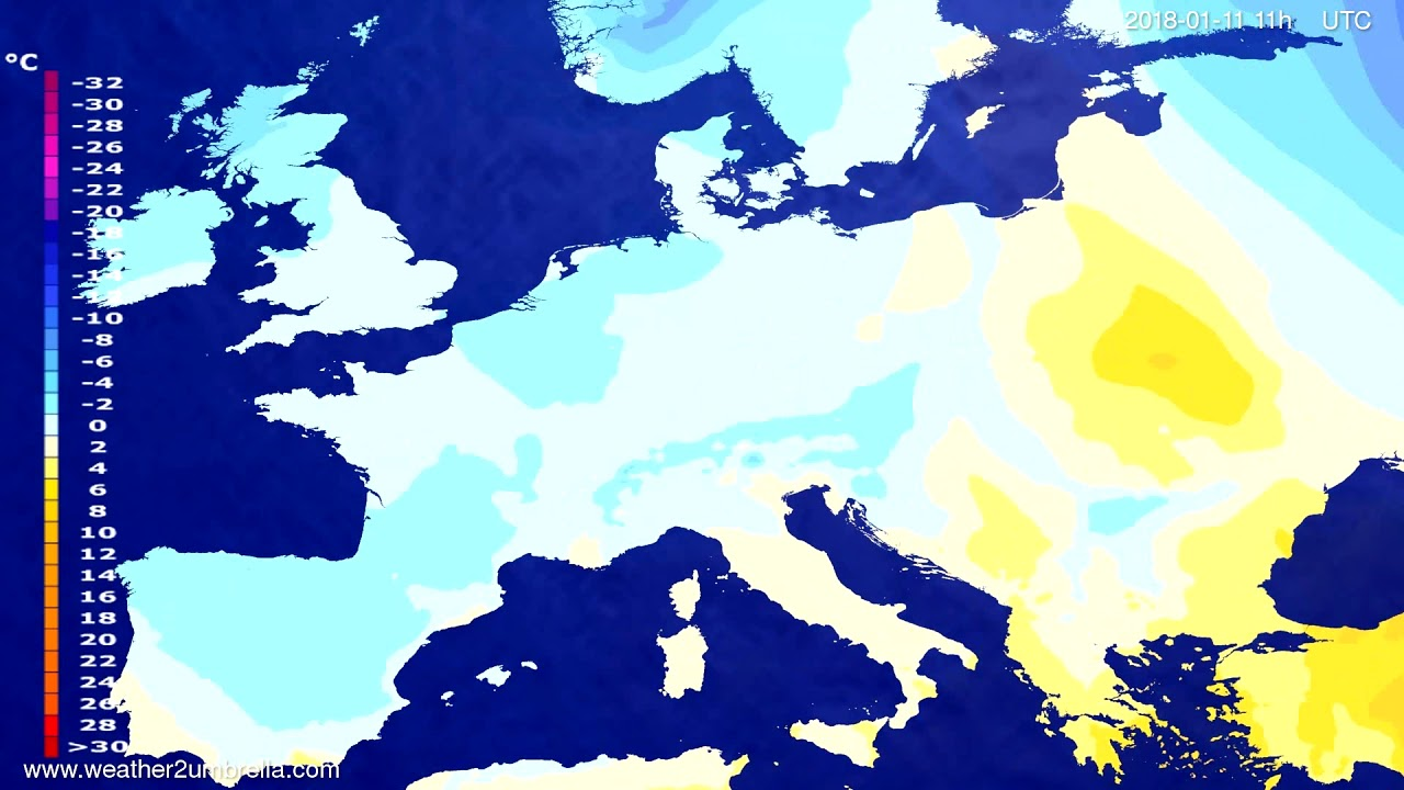 Temperature forecast Europe 2018-01-08