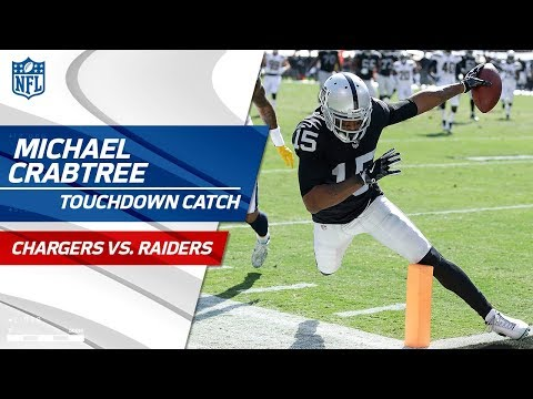Video: Michael Crabtree Catches Derek Carr's Pass & Long Jumps for a TD! | Chargers vs. Raiders | NFL Wk 6