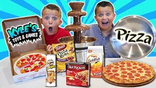 GIANT CHOCOLATE FOUNTAIN VS ALL KINDS OF PIZZA FOODS!