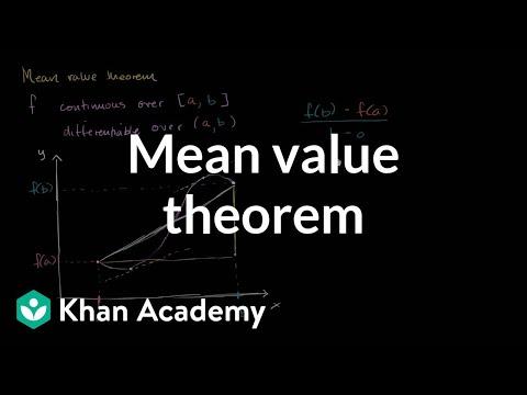 Mean value theorem (video) | Khan Academy