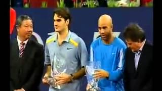 Nice words from Federer after TMC Shanghai 2006 Final.