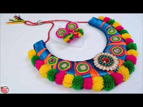 Very Easy ! DIY Necklace Making at Home || Navratri Jewellery Handmade || Navratri Ornaments Making