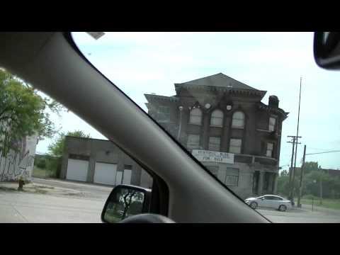 Detroit - Drive Through Classic Detroit Toward Eastern Market Restaurant District