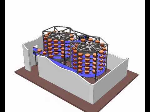 Torre de doble espiral para cámara de secado