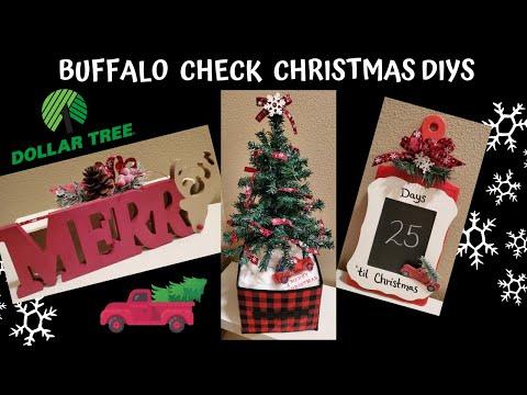 Dollar Tree DIY Buffalo Check Farmhouse Christmas Decor   Friend Friday Hop