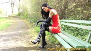 Long Leather Gloves And Boots