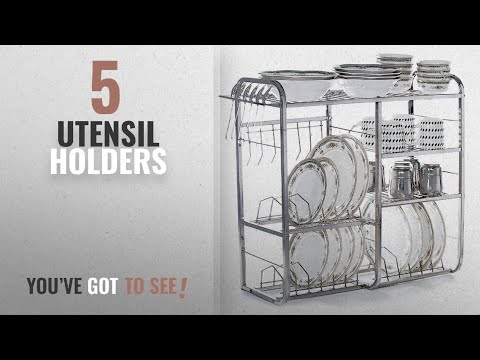 Top 10 Utensil Holders [2018]: Home Creations 24 Inch Wall Mount Kitchen Dish Rack Plate Cutlery