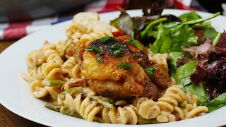 One-Pot Chicken, Bacon, and Goat Cheese Pasta by Tasty