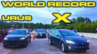 WORLD RECORD REMATCH - New 2019 Tesla Model X Ludicrous vs Lamborghini Urus 1/4 Mile Drag Racing by DragTimes