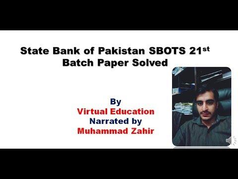 State Bank of Pakistan SBOTS 21st Batch Paper Solved IBP test