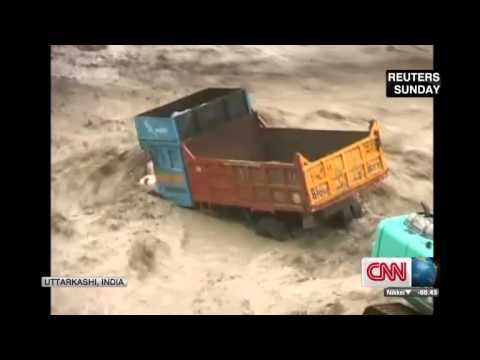Flooding washes homes away in Rishikesh India 18 June, 2013