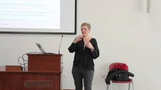 """Prof Charlotte Glumer talks about """"Monitoring Health and the Burden of Disiease""""."""