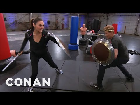 Conan O Brien Works Out With Wonder Woman Star Gal
