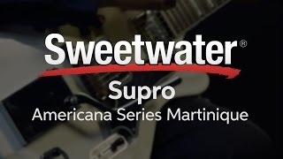Teddy Kumpel from Supro presents the Americana Series Martinique Deluxe Vibrato electric guitar. Based on Supro's vintage res-o-glass guitar designs, the Sup...