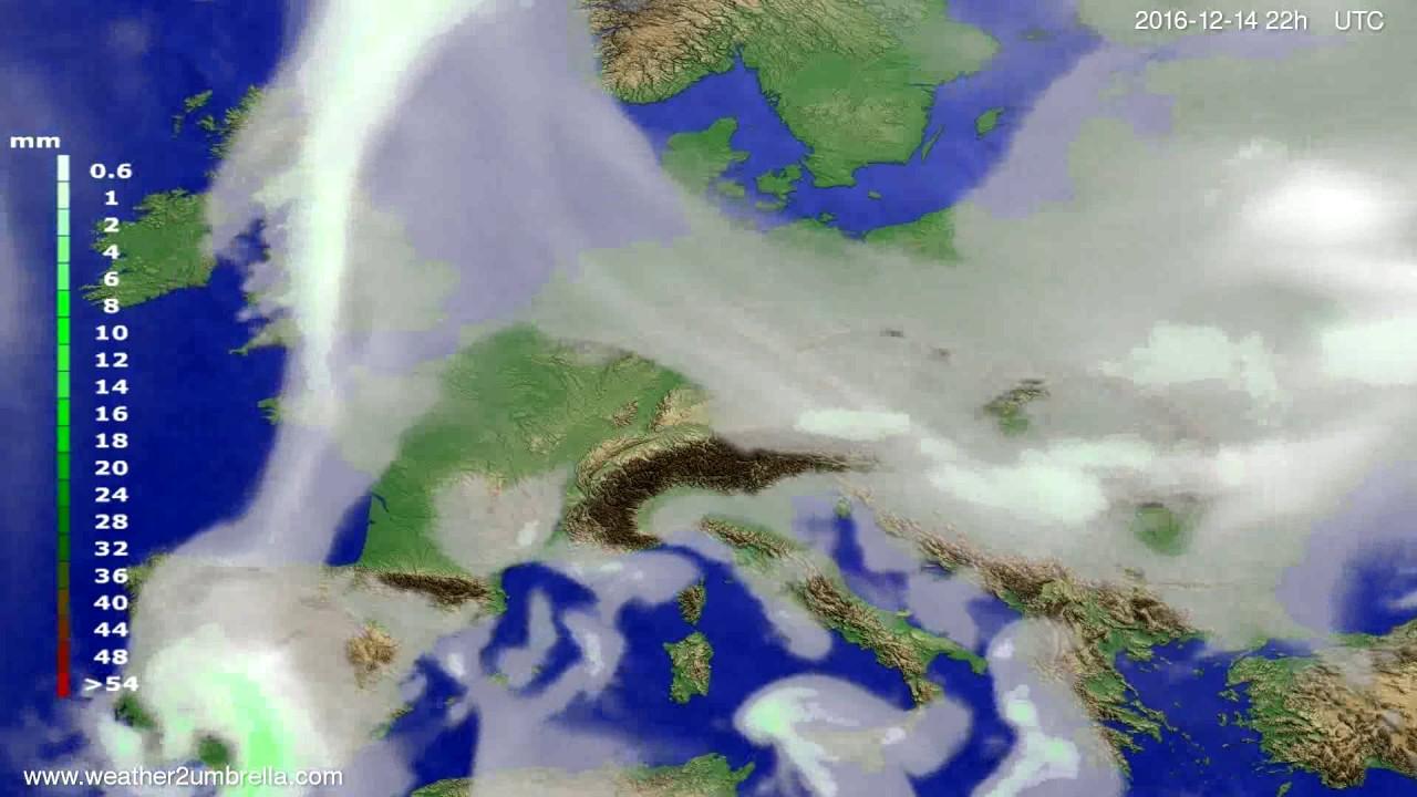 Precipitation forecast Europe 2016-12-12