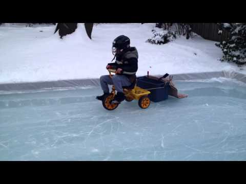 Kid Makes Mini Zamboni Machine for His Mini Ice