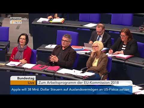 Bundestagsdebatte zum Arbeitsprogramm der EU-Kommission ...