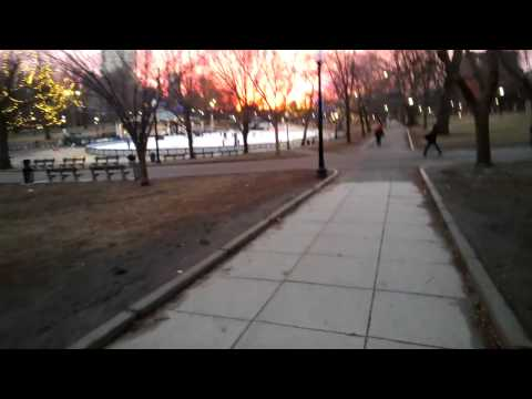 Sunset, Ice Skating on Boston Common Through Google Glass (Downtown)