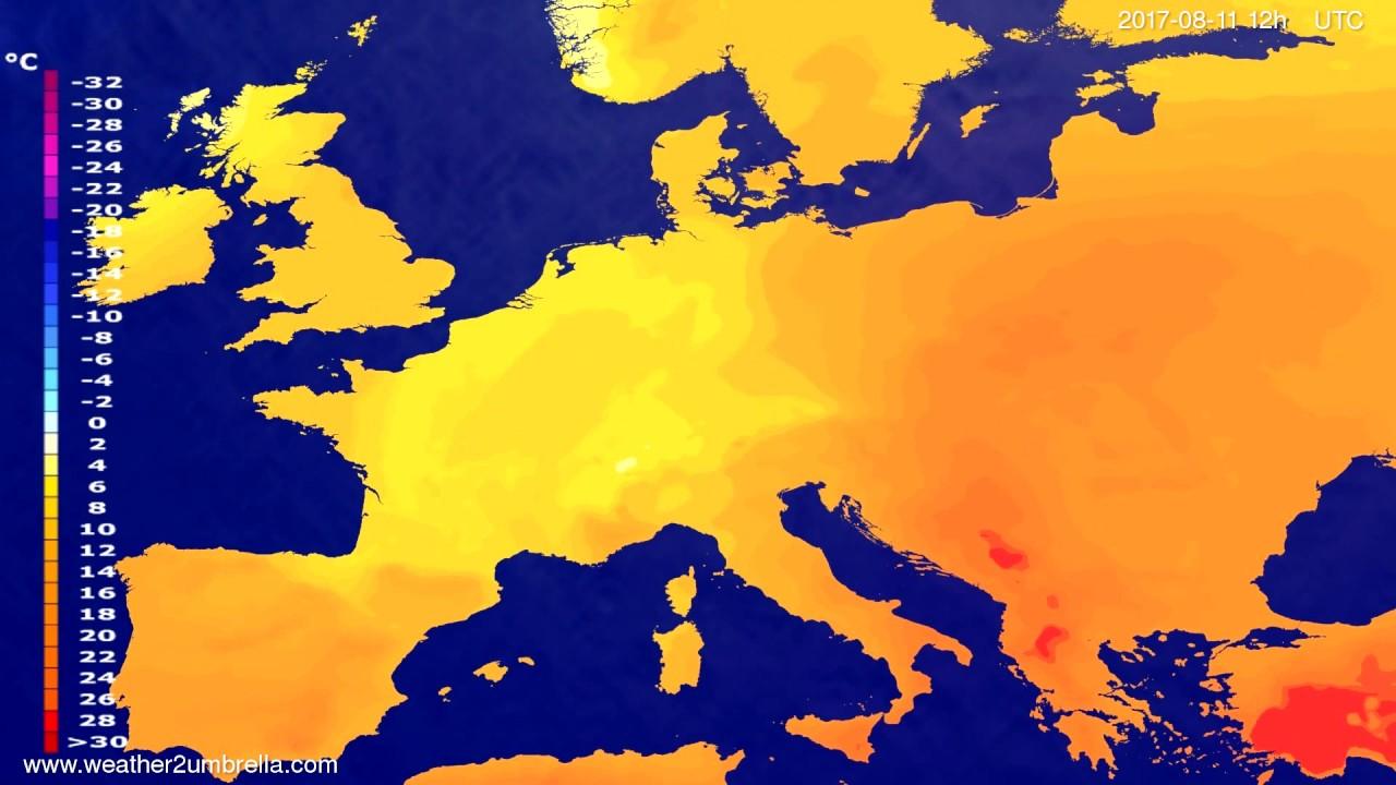 Temperature forecast Europe 2017-08-09