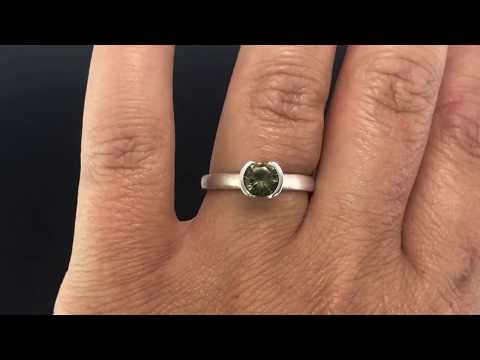 Round Cut Australian Olive Green Sapphire Half-Bezel Engagement Ring