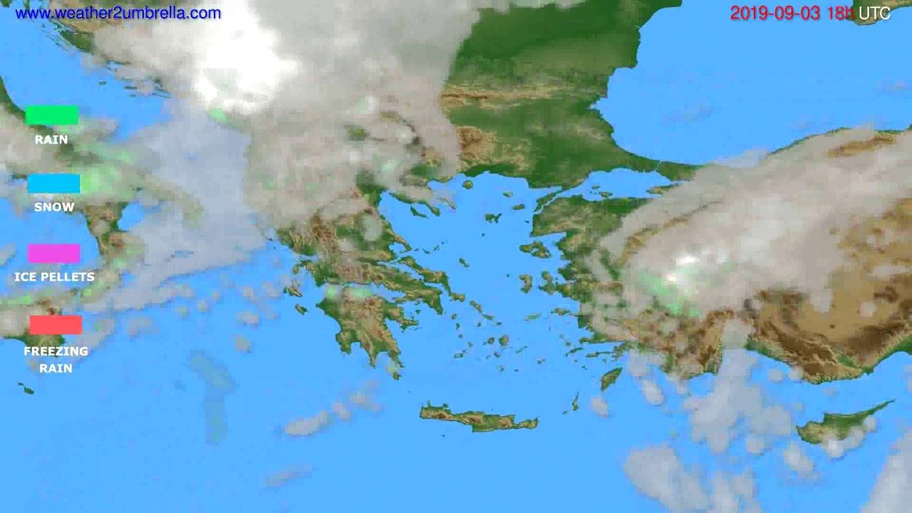 Precipitation forecast Greece // modelrun: 12h UTC 2019-09-01