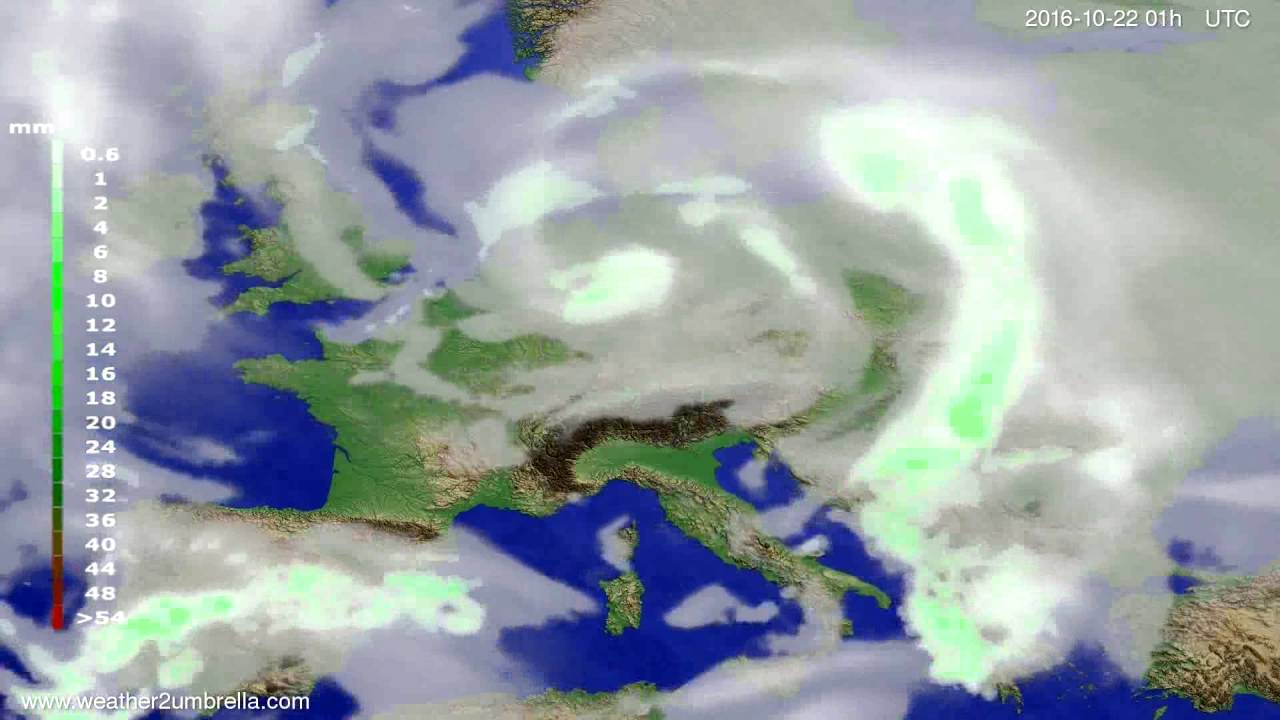 Precipitation forecast Europe 2016-10-19