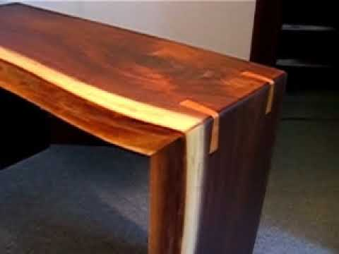 The finished Walnut Live Edge Sofa Tables.avi