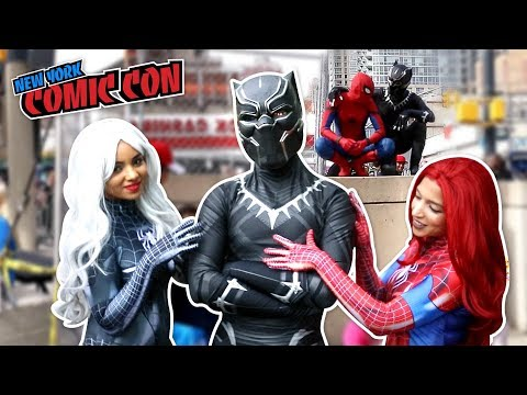 BLACK PANTHER VS SPIDER MAN VS New York Comic Con 2017 Ft. DEADPOOL