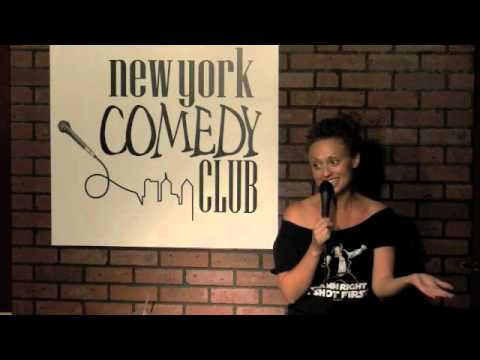 Leah Bonnema Performing at New York Comedy Club in a Han Shot First shirt