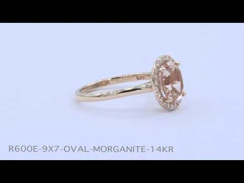 Halo Diamond Oval Morganite Ring in Rose Gold Band