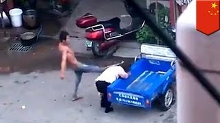 VIDEO: Lalaking nambugbog ng asawa, nakatikim ng street justice sa China!