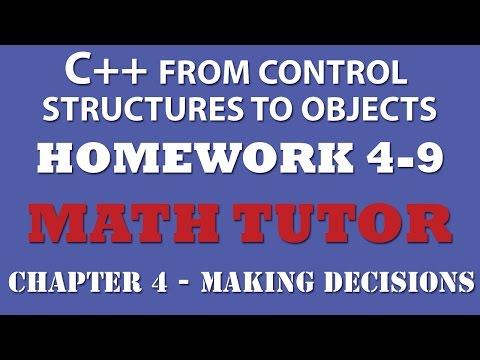 C++ Math Tutor (Ex 4.9) – Making Decisions