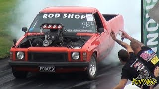 "BLOWN INJECTED HZ UTE ""FORCED"" DESTROYING TYRES AT BRASHERNATS."