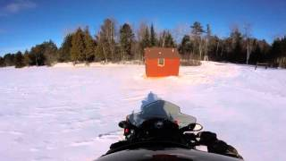 7. Polaris Adventure 550 pulling Ice Shanty out for 2016 Ice Fishing Season