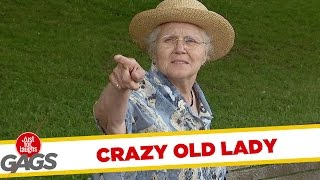 General Funny Pranks - Crazy old lady prank