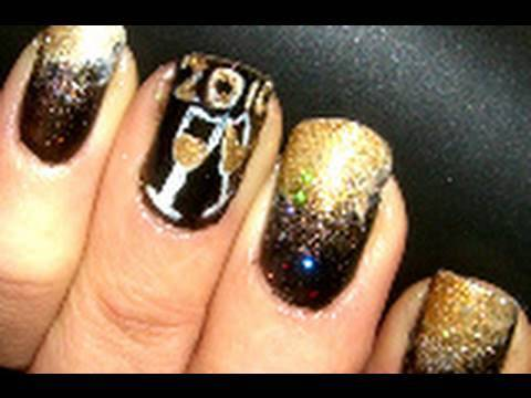 Gold Champagne Nails For NEW YEARS EVE!