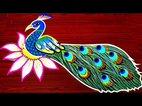 Video Beautiful and best peacock rangoli designs - simple kolam designs - creative peacock muggulu download in MP3, 3GP, MP4, WEBM, AVI, FLV January 2017