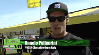 Jim Holley talks with Italian racer Angelo Pellegrini.Monster Energy® AMA Supercross, an FIM World Championship, is the premier off-road motorcycle racing circuit in the world, produced inside the world's most elite stadiums. Monster Energy® Supercross tracks are man-made inside the stadium. Some of the sport's marquee names include Ryan Dungey, Ken Roczen, Eli Tomac, Trey Canard, Jason Anderson, Chad Reed, David Millsaps and former supercross greats Jeremy McGrath and Ricky Carmichael. Regarded as the king of action sports, supercross has been described as one of the most physically demanding sports. Visit our official website: http://www.SupercrossLive.comShop for official merch: http://www.supercrosssuperstore.comWatch us on YouTube: http://www.youtube.com/supercrossliveLike us on Facebook: http://www.Facebook.com/SupercrossLive Follow us on Twitter: http://www.Twitter.com/SupercrossLive  Follow us on Instagram: http://instagram.com/SupercrossLive