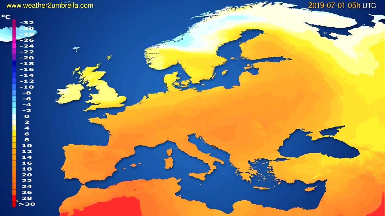Temperature forecast Europe // modelrun: 00h UTC 2019-06-29