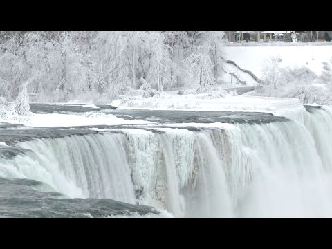 Download Parts of Niagara Falls freeze due to cold snap/winter storm HD Mp4 3GP Video and MP3