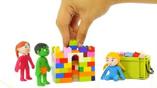 KIDS PLAYING WITH CONSTRUCTION TOYS ❤ SUPERHERO PLAY DOH CARTOONS FOR KIDS